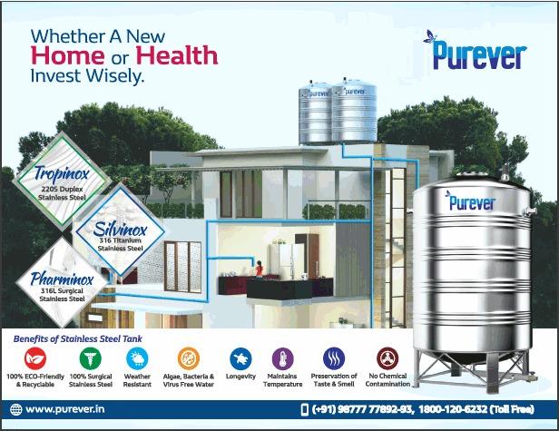 Purever stainless steel watertank